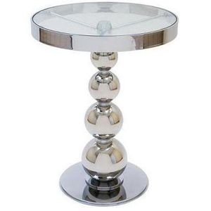 San Juan Round Glass Top Side Table with Polished Chrome Base by Allan Copley Designs