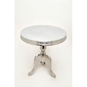 Barbados Round Side Table in Polished Cast Aluminum by Allan Copley Designs