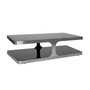 Diego Rectangular Cocktail Table with Black Glass Top & Shelf and Brushed Stainless Steel Frame by Allan Copley Designs