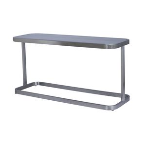 James Rectangular Console Table with Smoked Grey Glass Top and Brushed Stainless Steel Frame by Allan Copley Designs