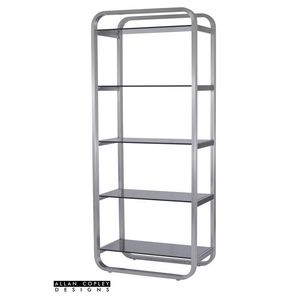 James 5-Shelf Bookcase with Smoke Grey Glass Shelves and Brushed Stainless Steel Frame by Allan Copley Designs