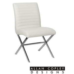 Sasha Set of Two Dining Chairs in White Leatherette with Polished Stainless Steel Frame by Allan Copley Designs