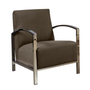 Teresa Lounge Chair in Green Fabric with Polished Stainless Steel Frame by Alan Copley Designs