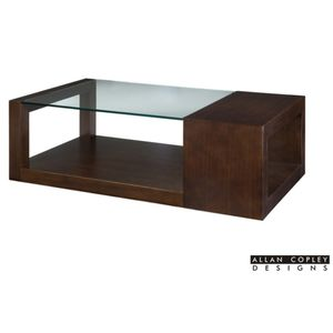 Dado Rectangular Glass Top Cocktail Table in Espresso Finish by Allan Copley Designs