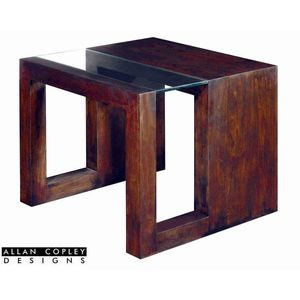 Dado Square Glass Top End Table in Expresso Finish by Allan Copley Designs