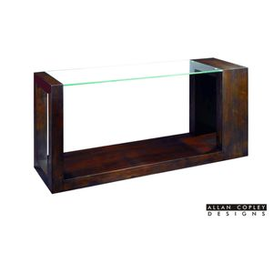 Dado Rectangular Glass Top Console Table in Espresso Finish by Allan Copley Designs