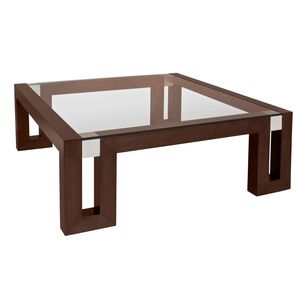 Calligraphy Square Glass Top Cocktail Table in Espresso Finish with Brushed Stainless Steel Accents by Allan Copley Designs