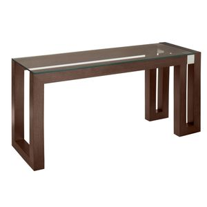 Calligraphy Rectangle Glass Top Console Table in Espresso Finish with Brushed Stainless Steel Accents by Allan Copley Designs