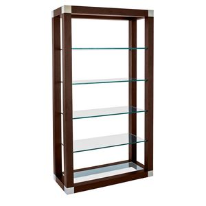 Calligraphy 5-Tier Glass Shelf Wall Unit in Espresso Finish with Brushed Stainless Steel Accents by Allan Copley Designs