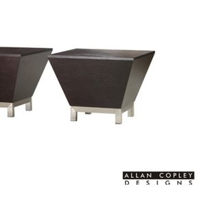 Sebring Square Occasional Table in Mocha on Oak Finish with Brushed Stainless Steel Base by Allan Copley Designs