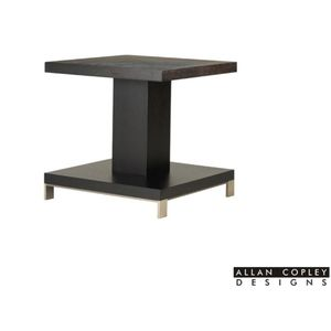 Force Square End Table in Mocha on Oak Finish with Brushed Stainless Steel Accents by Allan Copley Designs