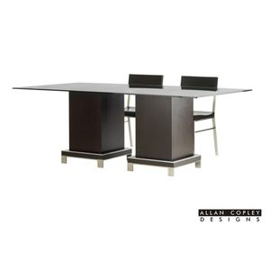 "Force 84"" Rectangle Glass Top Dining Table with Dual Pedestal Bases in Mocha on Oak Finish and Brushed Stainless Steel Accents from Allan Copley Designs"