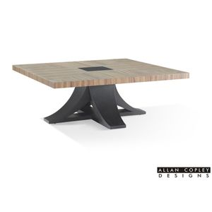 Bonita Square Cocktail Table with Zebrawood Top and Mocha on Oak Base by Allan Copley Designs
