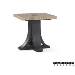Bonita Square End Table with Zebrawood Top and Mocha on Oak Base by Allan Copley Designs