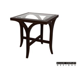 Sebastian Square End Table with Glass Top in Espresso Finish by Allan Copley Designs