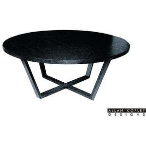 "Andy 54"" Round Dining Table in Black on Oak Finish by Allan Copley Designs"