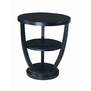Concept Round End Table in Black on Oak Finish by Allan Copley Designs