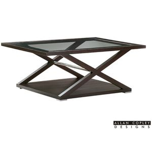 Halifax Rectangular Glass Top Cocktail Table in Espresso Finish with Brushed Stainless Steel Accents by Allan Copley Design