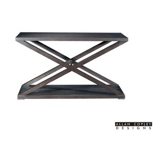 Halifax Rectangular Console Table in Espresso Finish with Brushed Stainless Steel Accents by Allan Copley Design