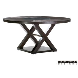 Halifax 60 Inch Round Wood Top Dining Table in Espresso Finish with Brushed Stainless Steel Accents by Allan Copley Designs