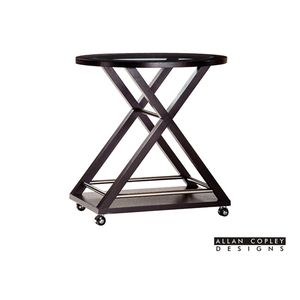 Halifax Oval Glass Top Castered Server Cart in Espresso Finish with Brushed Stainless Steel Accents by Allan Copley Design