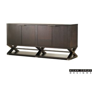 Halifax 4-Door, 4-Drawer, 2-Shelf Buffet in Expresso Finish with Brushed Stainless Steel Accents by Allan Copley Designs