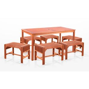 7-Piece Dining Set with Rectangular Table and Backless Benches by Vifah Wholesale