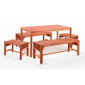 5-Piece Dining Set with Rectangular Table and Backless Benches by Vifah Wholesale
