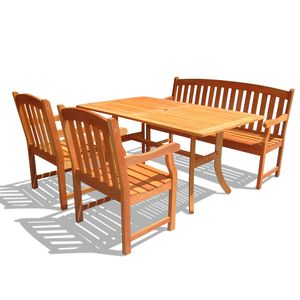 Atlantic Rectangular Table - Wood Bench - Wood Armchair Outdoor Dining Set by Vifah Wholesale