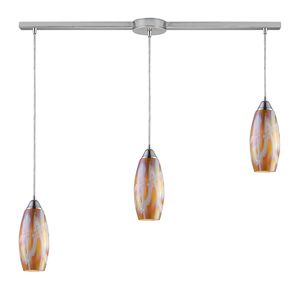 Iridescence 3-Light Golden Pendant In Satin Nickel by Elk Lighting