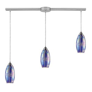 Iridescence 3-Light Storm Blue Pendant In Satin Nickel by Elk Lighting