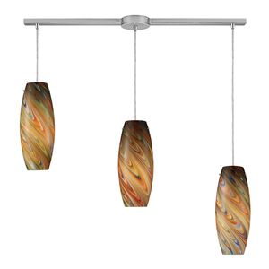 Vortex 3-Light Rainbow Pendant In Satin Nickel by Elk Lighting