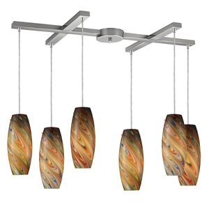 Vortex 6-Light Rainbow Pendant In Satin Nickel by Elk Lighting