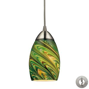 Mini Vortex 1 Light Pendant In Satin Nickel  by Elk Lighting