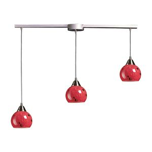 3 Light Pendant In Satin Nickel And Fire Red Glass by Elk Lighting