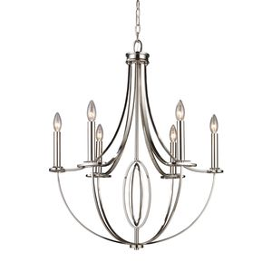 Dione 6-Light Chandelier In Polished Nickel by Elk Lighting