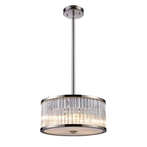 Braxton 3-Light Pendant In Polished Nickel by Elk Lighting