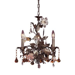 3 Light Chandelier In Deep Rust And Hand Blown Florets by Elk Lighting