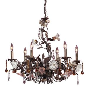 6 Light Chandelier In Deep Rust And Hand Blown Florets by Elk Lighting