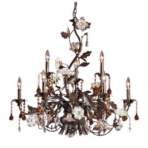 9 Light Chandelier In Deep Rust And Hand Blown Florets by Elk Lighting
