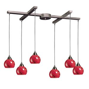 6 Light Pendant In Satin Nickel And Fire Red Glass by Elk Lighting