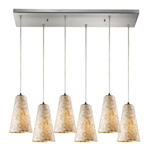 Capri 6 Light Pendant In Satin Nickel by Elk Lighting