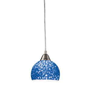 Cira 1-Light Pendant In Satin Nickel With Pebbled Blue Glass by Elk Lighting