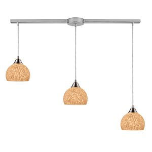 Cira 3-Light Pendant In Satin Nickel And Pebbled Gray-White Glass by Elk Lighting