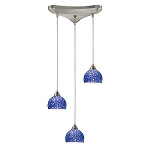 Cira 3-Light Pendant In Satin Nickel And Pebbled Blue Glass by Elk Lighting