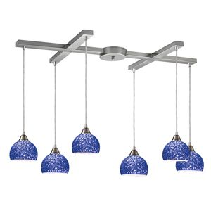 Cira 6-Light Pendant In Satin Nickel And Pebbled Blue Glass by Elk Lighting