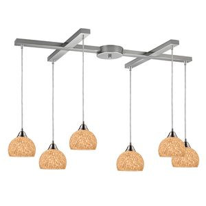 Cira 6-Light Pendant In Satin Nickel And Pebbled Gray-White Glass by Elk Lighting