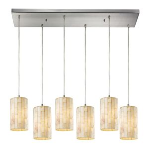 Piedra 6 Light Pendant In Satin Nickel by Elk Lighting