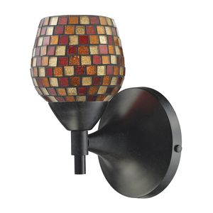 Celina 1-Light Sconce In Dark Rust With Multi Fusion Glass by Elk Lighting