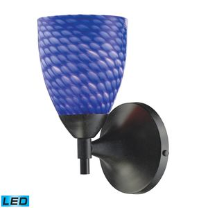 Celina 1-Light Sconce In Dark Rust With Sapphire Glass by Elk Lighting